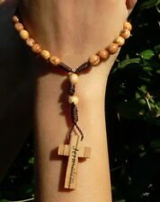 ANGLICAN ROSARY Holy Land Bethlehem Olive Wood Prayer Bead Cord Christian Church