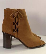 FRYE Amy Side Ghillie Boot Size 6.5 M Nutmeg Suede Peep Toe Heel NEW NWOB