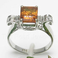 18k Solid White Gold Genuine Diamonds, 6x8mm Baguette Cut Citrine Ring TPJ