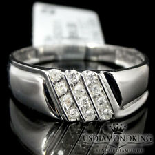 MEN'S NEW 10K WHITE GOLD GENUINE REAL DIAMOND WEDDING ANNIVERSARY RING BAND SZ10