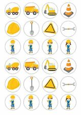 24 Builder Construction Wafer / Rice Paper Cupcake Topper Edible Fairy Cake Tops