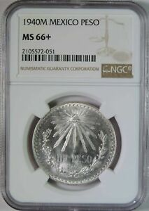 1940 M Mexico Silver 1 One Peso Coin NGC Graded MS66+ Plus GEM Uncirculated