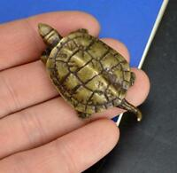 1pc Chinese Pastoral Style Pure Copper Brass Bronze Animal Tortoise Small Statue