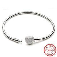 Sliver Pandora Chain Bracelet Heart Clasp Charm Snake Jewelry Woman Gift fashion
