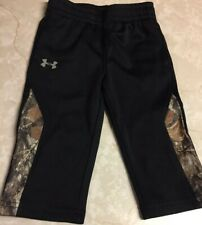 Infant Boys Black Under Armour Track Pants With Realtree Camo Side Panels 12M