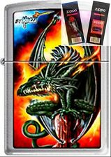 Zippo 7947 mazzi green dragon Lighter with *FLINT & WICK GIFT SET*