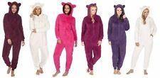 Ladies Plain Soft Snuggle Fleece Hood Onesee with PomPom LoungeWear B434/B780