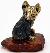 Solid Brass Amber Figurine of little baby Fox IronWork