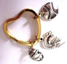 Trojan Football Baseball Silver Charms USA Gift Gold Heart Loop Made in America