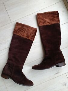 Russell & Bromley Ladies Brown Soft Suede Leather Knee Boots Size UK 5 /38 Fab!