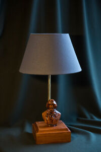 """Handmade desk lamp """"Beethoven"""", a carved rare wood"""