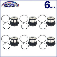 NEW 6 FUEL FILTERS + CAPS FOR 98-03 FORD F & E SERIES 7.3L POWERSTROKE DIESEL