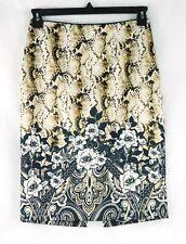 EUC White House Black Market Size 2 Brown Animal Print Pencil Skirt Floral NICE!