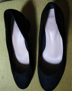 M&S Collection Woman's Black Faux Suede Court Shoes - size 4UK Wide Fit