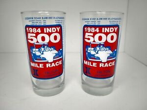 Vintage 1984 Indy 500 Mile Race Hilton Indianapolis Drinking Glass Winners