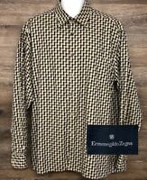 Ermenegildo Zegna Men's Multi-Color Geometric Long Sleeve Button Front Shirt XXL
