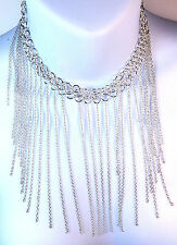 ELEGANT SILVER MULTI TASSEL NECKLACE DRESS PARTY WEAR SEXY UNIQUE STUNNING (A10)