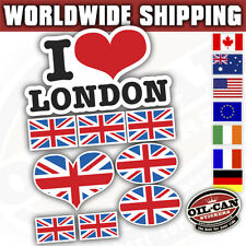I love london & Union Jack British flags sticker set (sheet size 210mm x 148mm)