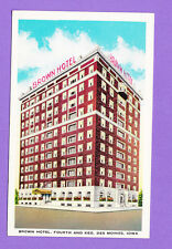 IOWA - DES MOINES, BROWN HOTEL, FOURTH AND KEO  POSTCARD 2174