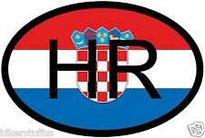 HR CROATIA COUNTRY CODE OVAL WITH FLAG STICKER
