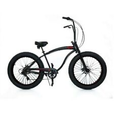 "Micargi Slugo-SS 26"" Fat Tire 7 Speed Cruiser Bicycle w/ Hi RISE Handlebar Black"
