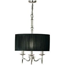 Avery Ceiling Pendant Chandelier Light– 3 Lamp Bright Nickel & Black Round Shade