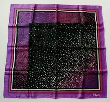 "Paoli Purple Pink & Black Abstract Pattern Acetate Scarf 27"" x 26"""