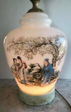 Chinese White Glass Hand Painted Table Lamp / Night Light