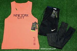 Nike Men's Run Division Hybrid Running Tights/Short & Aeroswift Tank Singlet, S
