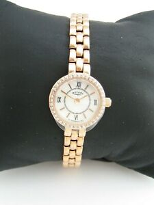 ROTARY WOMENS WATCH LB00189/41 GOLD STAINLESS STEEL BRACELET CRYSTALS GENUINE