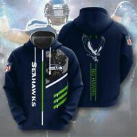 Seattle Seahawks Hoodies Men's Football Sweatshirt Pullover Casual Hooded Jacket
