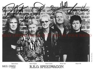 R.E.O. SPEEDWAGON BAND SIGNED AUTOGRAPH 8x10 RP PROMO PHOTO by5 REO CLASSIC ROCK