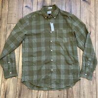 J Crew Men's M Classic Overdyed Plaid Shirt Button Down Long Sleeve Green $59