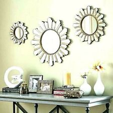 NEW SET OF 3 Sunburst Circle Round Wall Mirrors Distressed Antique Silver