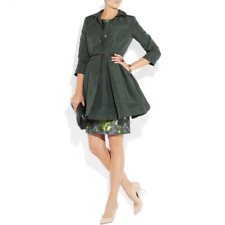 RED VALENTINO FLARED FOREST GREEN SATIN-FAILLE COAT SIZE M/UK10/US6