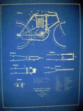 Antique Motorcycle Blueprint White Motor Company 19x24  (147)