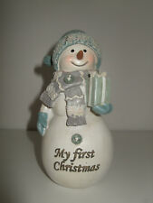 Baby Boy's 1st Christmas Snowman Ornament Keepsake Blue Baby's First Christmas
