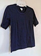 Viyella Ladies Navy Blue Short Sleeve Top  Beautiful Embroidery Detail Size S