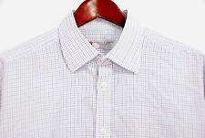 Turnbull & Asser Men's Dress Shirt Black Blue Tattersall Check Classic 17 x 35/6
