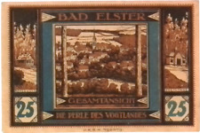 1920 Germany  BAD ELSTER 25  Pnennig  Notgeld / Banknote
