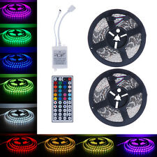 10M 5050 SMD RGB 2X5M 600LEDs LED Light Strip 44 Key IR Bar Remote Controller