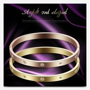 Womens Gold Silver CZ Crystal Love Stainless Steel Bangle Luxury Bracelet
