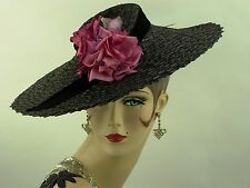 VINTAGE HAT 1950s FRENCH WIDE BRIM 'NEW LOOK' PICTURE HAT, BLACK STRAW w ROSES