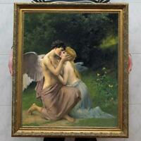 Hand Painted Old Master-Art Antique Oil Painting Portrait Cupid and Psyche