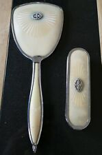 antique silver or silver plated mirror and brush