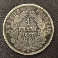 FRANCE NAPOLEON III TETE NUE 1 FRANC 1857 A PARIS