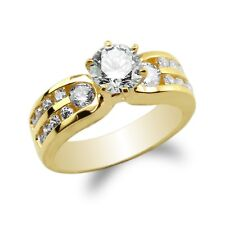 JamesJenny Ladies 10K/14K Yellow Gold Round CZ Channel Solitaire Ring Size 4-10