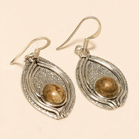 Natural African Mountain Agate Shield Earrings 925 Sterling Silver Fine Jewelry