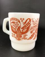 Fire King E. Pluribus Unum Milk Glass Coffee Mugs Red D Handle Anchor Hocking