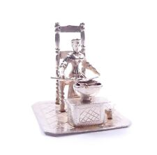 925 Sterling Silver Victorian Lady With Bed Warmer Mini Statue Figurine 24g